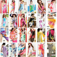 Wholesale Tie Dye Sarongs Wholesale - DHL Free Sheer Sarong Hawaii Pareo Beach Skirt Coverup Cruise Wrap Dress Mix Wholsesale