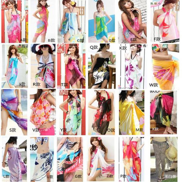 DHL Free Sheer Sarong Hawaii Pareo Beach Skirt Coverup Cruise Wrap Dress Mix Wholsesale