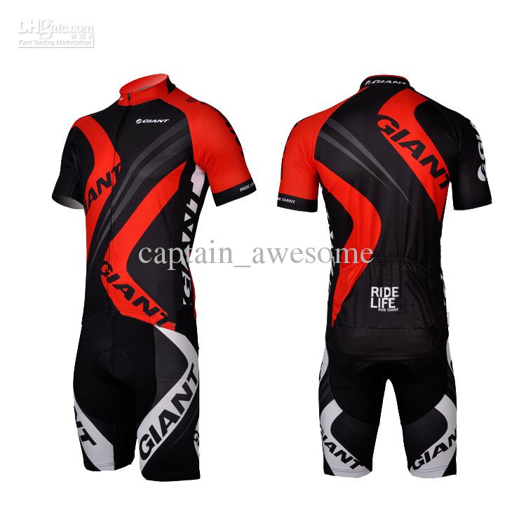Hot Giant Red Outdoor Cykling Bike Jersey + Shorts Cykel S - 3XL