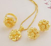 gold füllen ohrringe großhandel-Schmucksache-Satz Gelbes Gold der Frauen füllte Halskettenring earings freies Verschiffen