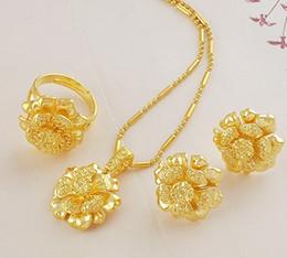 часть женщин ювелирные изделия комплект желтого золота заполнены ожерелье кольцо серьги бесплатная доставка на Распродаже