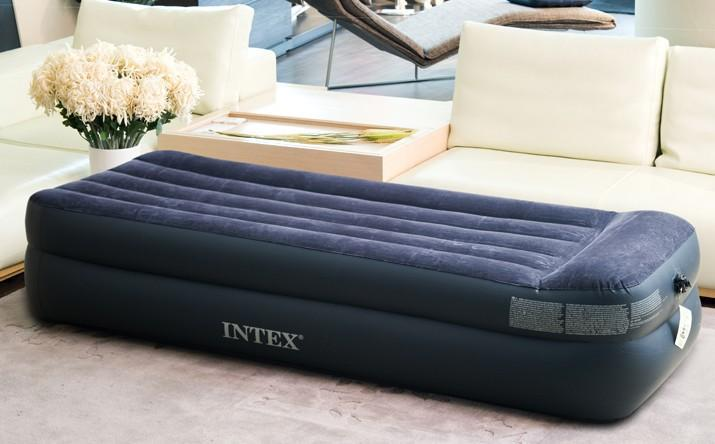 large single size builtin pillow air bed inflatable airbed with pump intex free express