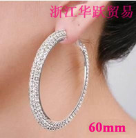Wholesale Silver Basketball Earring Hoops - Hoop Earrings 2 Rows Basketball Wives Crystal Silver Polish 60mm 12Pairs Lot Free Shipping