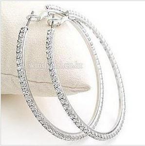 Silvertone Big Circle lady's Basketball Wives Hoop Earrings With Crystal Rhinestone Dangle Earring