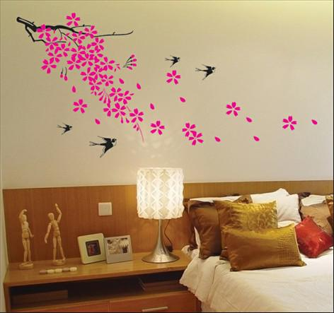 Removable Swallow And Flowers Wall Stickers Living Room Decor Decals 50x70cm Material PVC Brand New Condition Translucent