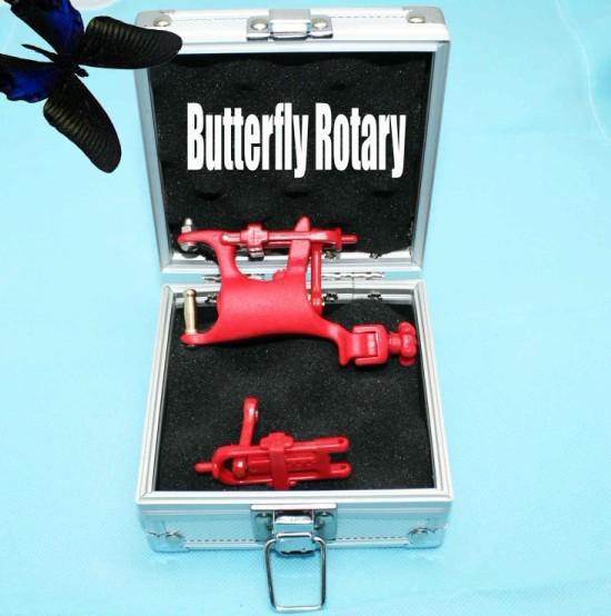 Super Swashdrive WHIP Rotary Tattoo Machine Red Butterfly & Aluminum Gun Box Tattoo Kits Supply
