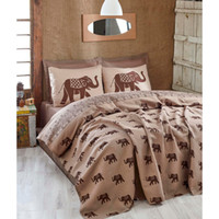 Eponj Home Natural Pique Printed Double Elephant Brown HB000...