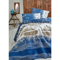 Eponj Home Natural Pique Printed Double Compass K. Blue HB000...