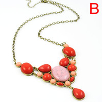 Wholesale Long Heart Jewellery Pendants - Fashion gems jewelry bohemian style pendant necklace for women colorful resin stone Pendants Jewellery necklaces with long chain,NL-1738