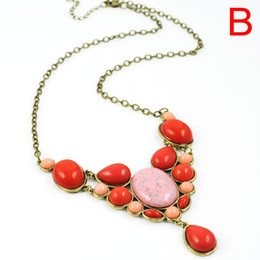 Wholesale Red Turquoise Jewellery - Fashion gems jewelry bohemian style pendant necklace for women colorful resin stone Pendants Jewellery necklaces with long chain,NL-1738