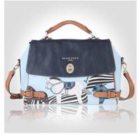 Wholesale Bean Bag Blue - 2016 New fashion lady bean pole horse bag Women's lady shoulder bag handbag blue beige