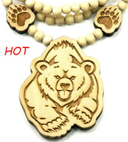 Wholesale Wood Bear Pendant - 25pcs Bear Piece Good Wood Necklace Goodwood NYC And 36 Inch Wood Necklace Chain  Paws