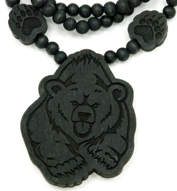 25pcs Bear Piece Good Wood Necklace Goodwood NYC And 36 Inch Wood Necklace Chain/ Paws