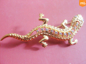 Wholesale 100 new jewlery Brooches hot sale gecko k real gold jewlery brooch with diamonds ALLOY material