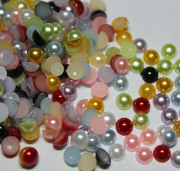 Wholesale Round Pearls Beads - 2000pcs 4MM Mixed colors Half Round Pearls Beads Flatback Scrapbooking Embellishment Craft DIY
