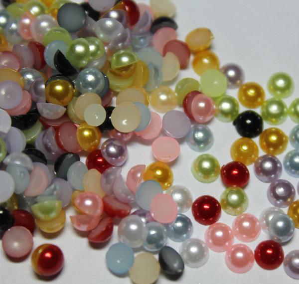 2000pcs 4MM colori misti Metà Intorno Perle Perline Flatback Scrapbooking Abbellimento Artigianato FAI DA TE