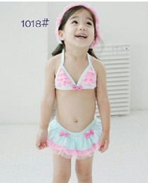Wholesale Bathing Cap Child - 2016 new baby girl pink Bikini with hat cap 3 pcs sets SWIMSUIT baby swimsuit Children kid swimming bathing suit