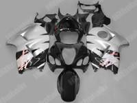 ingrosso cavalletti neri argentati hayabusa-Kit di carenature cusotm argento nero per GSXR1300 GSX-R1300 hayabusa 1996 - 2007 GSX 1300R
