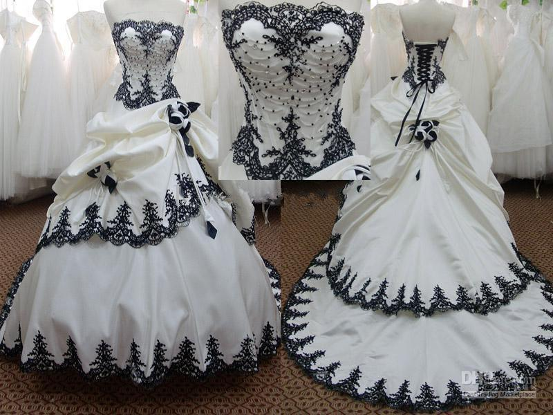 Cheap Black N White Wedding Dresses: Discount 2012 DH Hot Strapless Black And White A Line