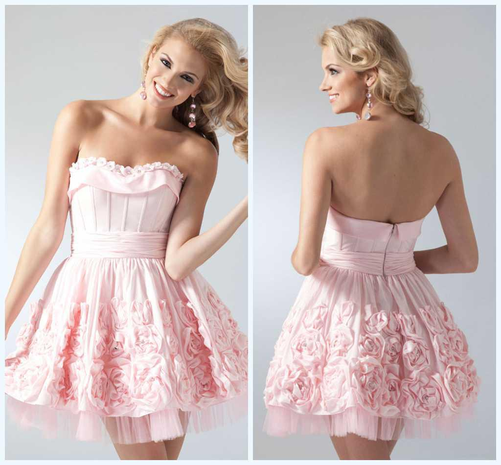 Lovely Beautiful Handmade Flowers Strapless Ruffle Light Pink Mini ...