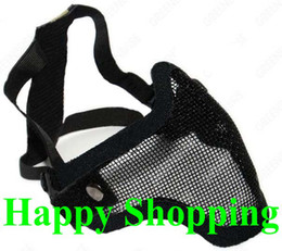Wholesale Paintball Mesh Mask - Half Face Metal Mesh Protective Mask Airsoft Paintball Resistant Black free shipping