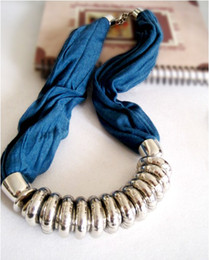 Wholesale Choker Scarf Necklace - Blue red Pendant Necklace Scarf with Decorative Rings & Studded Tassly Ends Scarf jewelry