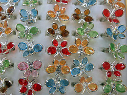 Wholesale Acrylic Crystals Bulk - Jewelry Ring mixed Color Bulk 50pcs Butterfly Resin Rhinestone Crystal Silver tone Rings Fashion