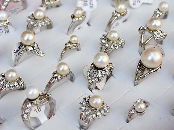 Anello gioielli misto 50pcs CZ con strass imitato perla argento P anelli