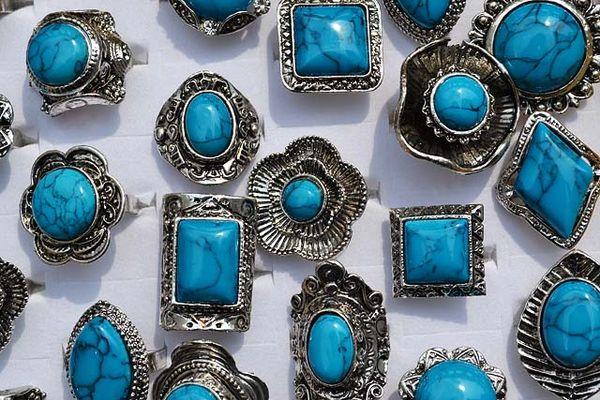 Rings Jewelry lots 50pcs large tibetan tribe turquoise gemstone stone Silver tone Ring Jewelry