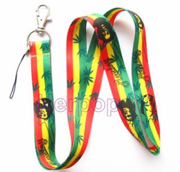 Wholesale bob strap - New Lot 50 pcs Bob Marley polychrome striped Mobile Phone Neck Strap Charms