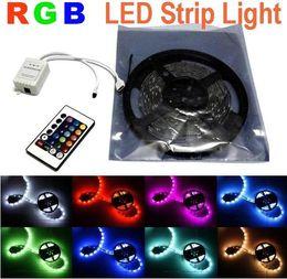 Wholesale Led Multi Strip Light - Multi-Color 5050 SMD RGB LED Strip Light non Waterproof 5m 50led+24key IR Remote Controller 30LED m