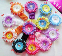 Wholesale Orange Crochet Headbands - 12 Colors Gerbera 4''Baby Hair Bows Crochet Headband Knit Waffle With Flower+ Hair Bows