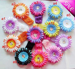 Wholesale 12 Hair Flowers - 12 Colors Gerbera 4''Baby Hair Bows Crochet Headband Knit Waffle With Flower+ Hair Bows
