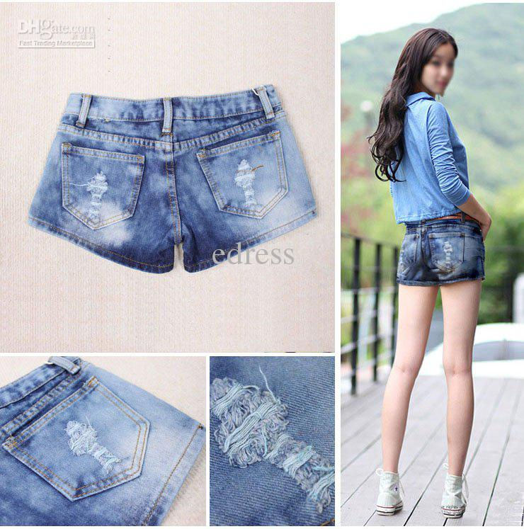 Summer Best Sale Short Jeans, Ladies' Denim Ripped Casual Jeans ...