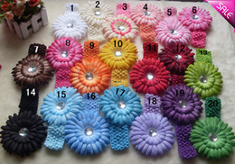 "Wholesale Hair Bows Blue Yellow - 20 Colors 4"" Gerbera Children's Hair Accessories baby Girls Flower Clip + 1.5"" Hair Headband"