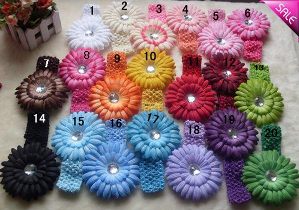 "20 Colors 4"" Gerbera Children's Hair Accessories baby Girls Flower Clip + 1.5"" Hair Headband"
