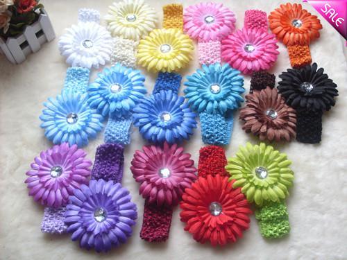 "4"" Gerbera Children's Hair Accessories baby Girls Flower Clip + 1.5"" Hair Headband"