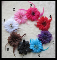 "Wholesale Pink Artificial Grass - 8 Colors 4"" Rose Children's Hair Accessories Girls Head Flower Clip"