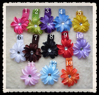 "Wholesale Wool Head Flower - 13 Colors 4"" Tropical 4 layerLily Flower Children's Hair Head Flower Clip"