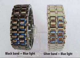 Wholesale Metal Lava Style - Luxury Men's Fashion LED digital Lava style iron Red Blue light metal LED samurai watch 30 pcs lot