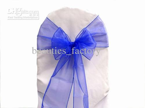 Blue Color Organza Sashes Chair Cover Bow Wedding Party Banquet Shimmering Sash 20cm X 288cm or other colors