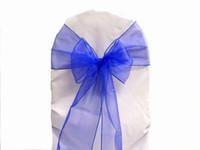 ingrosso coperture di sedia blu-Fodera per salviette per banchetti festa nuziale con fiocco in organza blu 20 cm x 288 cm o altri colori