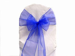 Wholesale Blue Color Organza Sashes Chair Cover Bow Wedding Party Banquet Shimmering Sash cm X cm or other colors