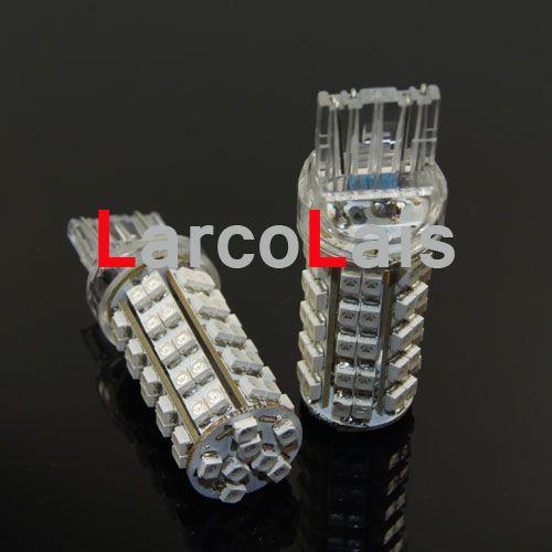 2ピース7440 7443 T20 68 SMD LEDブレーキターン電球琥珀色68-LEDライト電球