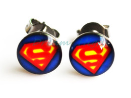 Wholesale Superman Piercing - Superman Earring Stud 316L Stainless Stell 8mm ball Fashion Ear piercing Jewelry 100pcs lot