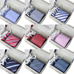 Wholesale Gift Set Cufflink - wedding mens neck tie set with tie clip and cufflinks & kerchief 1 set per lot 40colors for choice packed by gift box  bag