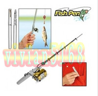 Wholesale mini fishing rods - Fishing Rod Mini pocket Fish Pen Fishing Rod in Pen case fishing rod with Retail packaging