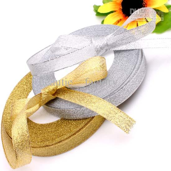 """10roll 1/2"""" 12mm Golden Glitter Metallic Jewelry Ribbon Gold color 250yds 1 Roll 25yds"""