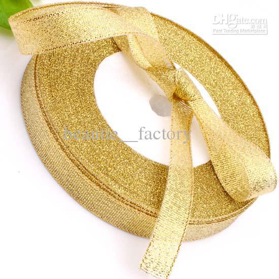 """10roll 1/2"""" 12mm paillettes d'or métalliques bijoux ruban 250yds couleur or (1 25yds Roll)"""