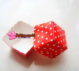 Wholesale Square Cupcake Boxes - 400pcs Red Polka Dot Baking Cup,Grey Tiny Muffin Square Cupcake Cups chiffon cake cup case